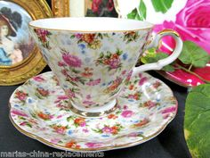 Simply Pretty Lefton Japan Chintz Tea Cup and Saucer Duo Roses Pattern | eBay
