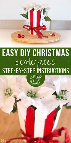 How to make a super easy DIY Christmas centerpiece. #DIY #DIYChristmas #ChristmasCraft Christmas Activities, Christmas Crafts For Kids, Homemade Christmas, Simple Christmas, Holiday Crafts, Holiday Ideas, Christmas Holidays, Merry Christmas, Christmas Party Food