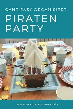 Very easy: pirate ship cake, decorations and games for a pirate party - mamaimspagat.de - Pirate party: games, decorations, pirate ship cake and small gifts ratzfatz organized At this pirat - Homemade Pirate Costumes, Pirate Ship Cakes, Pirate Ships, Bateau Pirate, Lemon And Coconut Cake, Pirate Crafts, Pirate Birthday, Birthday Kids, Easy