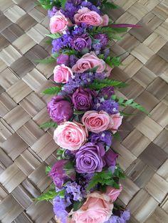 Pink and Purple Rose haku Floral Garland, Flower Garlands, Pink And Purple Flowers, Fresh Flowers, Hawaiian Flowers, Hawaiian Leis, Ribbon Lei, Ribbons, Flower Lei