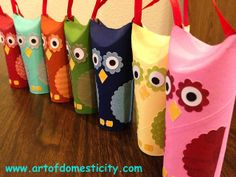Cute idea with toilet paper rolls into Owl Ornaments. Or even make a Santa owl with mrs clause and elves