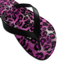 Pink Leopard Animal Print Unisex Flip-Flops Beach Pool Sandals- Made in USA Designer Flip Flops, Leopard Print Shoes, Beach Flip Flops, Flip Flop Shoes, Leopard Animal, Cute Pink, Beach Pool, Unisex, Usa