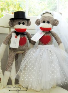 Sock Monkey Doll, Bridal Wedding Doll Set    Bride and Groom    Due to the monkeys eyes, this toy is not suitable for babies or smaller children.