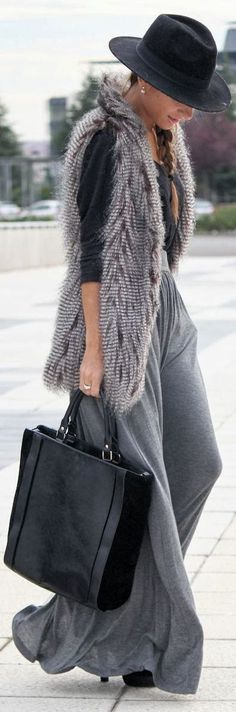 Fedora, side braid, chic tote, maxi with fur vest...I will sub in something else for the vest