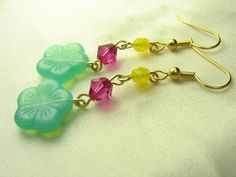 Green flower earrings ... green glass flowers with pink Swarovski and yellow beads ... hawaiian hello on Etsy, $16.00