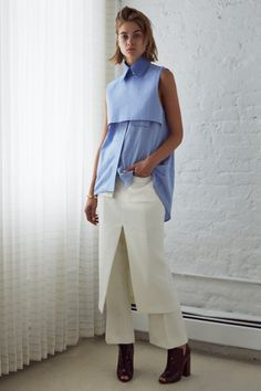 daube sleeveless shirt . cookie crop flare . réard pencil skirt with accordian pocket