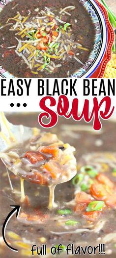 BLACK BEAN SOUP Entree Recipes, Chili Recipes, Vegan Recipes Easy, Dinner Recipes, Chowder Recipes, Soup Recipes, Easy Cooking, Cooking Recipes, Foods For Bloating