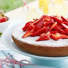 Almond Cake With Strawberries: This fruit-topped dessert makes a gorgeous treat for Mom's special day.