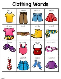 Clothing Words by Renee Dooly Weather Activities Preschool, Speech Activities, Toddler Learning Activities, Kids Learning, Learning English For Kids, English Lessons For Kids, Clothes Words, Clothing Themes, Flashcards For Kids