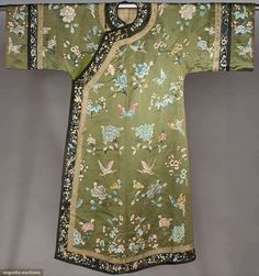 EMBROIDERED GREEN SILK ROBE, CHINA, c. 1900  Olive satin w/ silk embroidered peonies, plum blossoms & butterflies in pink & blue