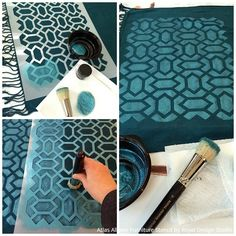 Moroccan Pillow Decor with Stencils and Beads - Painted Fabric Pillow DIY Tutorial from Royal Design Studio