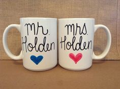 Check out this item in my Etsy shop https://www.etsy.com/listing/259802333/set-of-personalized-mr-and-mrs-mugs-with