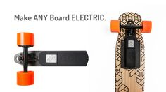 Convert any skateboard to an electric in seconds with an ultra-light, bolt-on power-train capable of 22 mph and a range of 15 miles.