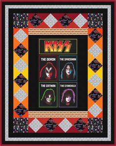 One Night Only designed by Robert Kaufman Fabrics, Features Kiss(R) by Epic Rights, shipping to stores November 2016. FREE pattern available in January 2017 (robertkaufman.com) #FREEatrobertkaufmandotcom