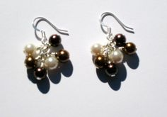 Brown and Off White Glass Pearl Cluster earrings bronze silver by creationsbycandice