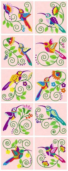 Embroidered Jacobean Hummingbirds