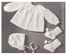 Vintage Baby Knitting Pattern Sweater Bonnet by DigitalPatternShop Baby Knitting Patterns, Pattern Baby, Baby Sweater Patterns, Crochet Vest Pattern, Knit Baby Sweaters, Vintage Crochet Patterns, Vintage Knitting, Baby Patterns, Baby Knits