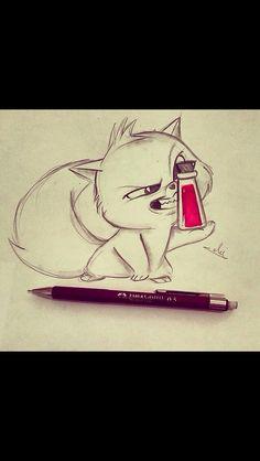 cat, drawing, and art image - Tattoos - Katzen Disney Sketches, Disney Drawings, Cartoon Drawings, Easy Drawings, Animal Drawings, Drawing Disney, Cat Drawing, Drawing Sketches, Painting & Drawing