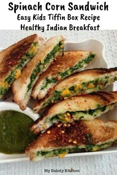 Spinach corn sandwich is an easy and healthy kids tiffin box recipe This is a CCD style creamy spinach corn sandwich This is a healthy Indian breakfast recipe that is easy and quick It has all goodness of green spinach leaves Rice Recipes For Kids, Kids Cooking Recipes, Lunch Box Recipes, Easy Healthy Recipes, Baby Food Recipes, Healthy Kids, Vegetarian Recipes, Breakfast Recipes, Snacks Recipes