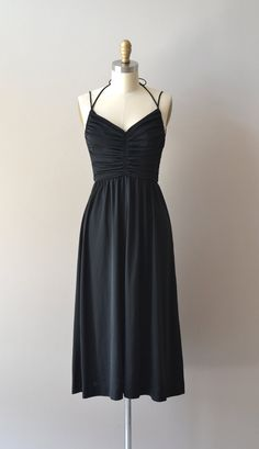 vintage 70s dress / black 1970s dress / Heart of by DearGolden, $74.00