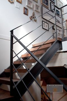 Industrial Loft Stair Hall - Architect Ryan Duffey removed the existing narrow . Industrial Loft Stair Hall – Architect Ryan Duffey removed the existing narrow spiral staircase Loft Staircase, Staircase Railings, House Stairs, Staircase Design, Basement Stairs, Banisters, Stairs In Homes, Stairs To Loft, Metal Handrails For Stairs