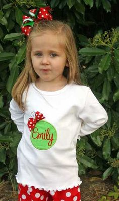 My sister and I love this top for our little girls. We are going to have one made in a shirt style, and the other two made in onesies. We're going to have our girls' picture made together at Christmas time! Christmas Applique, Christmas Sewing, Christmas Crafts, Christmas Holidays, Personalized Christmas Ornaments, Handmade Christmas, Christmas Tee Shirts, Embroidery Monogram, Sewing For Kids