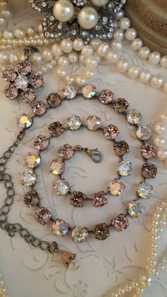 Items similar to Nude Shimmer. Added to the Oh La La Collection. Soft Shimmery Vintage Rose,Greige and Crystal AB on Etsy Swarovski Jewelry, Crystal Jewelry, Swarovski Crystals, Crystal Necklace, I Love Jewelry, Jewelry Making, Jewelry Bracelets, Fine Jewelry, Mariana Jewelry