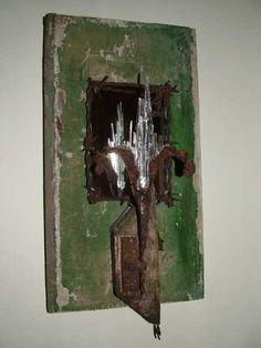 Wood. Mild Steel. Mirror. Glass #sculpture by #sculptor Jane Bohane titled: 'Dis - Regard'. #JaneBohane
