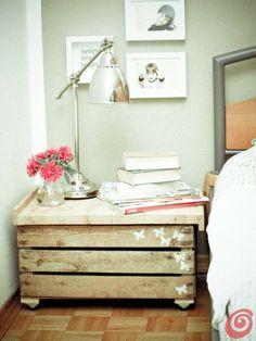 La cassetta in legno di recupero: comodino vintage