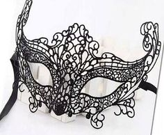 Black White Fox Lace Mask for Wedding Masquerade by LaceNTrim