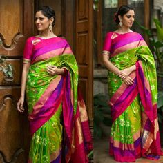 Pochampally ikkat parrot green with pink and purple handwoven pure silk saree White Saree Blouse, Silk Saree Blouse Designs, Ikkat Pattu Sarees, Pochampally Sarees, Georgette Sarees, Pure Silk Sarees, Cotton Saree, Parrot Green Saree, Kalamkari Dresses