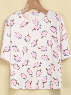 T-Shirt motif Popsicles -blanc -French SheIn(Sheinside)                                                                                                                                                                                 Plus