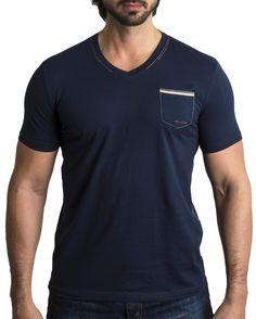 V-Neck Solid Navy Pocket Beige - Men Fashion - 1
