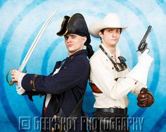 Captain Albert Alexander and Rex Marksley as portrayed by Bunny Bennett  David Michael Bennett of Steam Powered Giraffe. You can find this and many more official SPG prints in the GeekShot store.