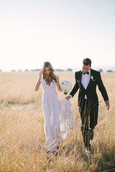 by Kristen Cook Great idea for a post wedding shoot in autumn, in a brown field with such a chic dress.