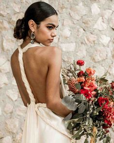 Bride in Anna Fucca Atelier gown - A destination elopement in Mexico - Mexico wedding photographer, destination wedding photographer Lilly Red Creative Middle Part Updo, Middle Part Hairstyles, Timeless Wedding, Elegant Wedding, Autumn Wedding, Red Wedding, Wedding Flowers, Wedding Dresses, Bride Hairstyles