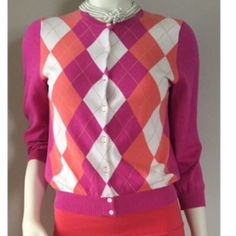J.Crew Pink Argyle Cardigan Cotton argyle print cardigan from J.Crew in pink hues.  Perfect for spring and in excellent condition!!! J. Crew Sweaters Cardigans
