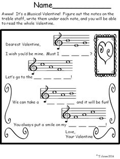 Perfect for sub plans in February - cute set for treble clef note identification Valentine's Day
