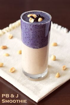 Perfect Peanut Butter and Jelly Smoothie Recipe! The delicious, nutritious layers are SO easy to make. Vegan, gluten-free, soy-free. @wymansfruit #SpringIntoSmoothies