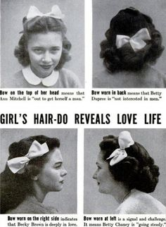 Vintage poster about what the placement of a hair bow means about a woman's love life..haha.