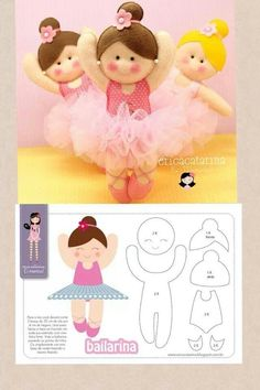 Bailarina - Érica Catarina for Sofiagirl dancer felt doll and pattern MásLots of great ideas for handmaCould also be used for baby patternLots of great ideas for handmade gifts for kids-- gifts for babies, for dress-up, for play time and more. Felt Doll Patterns, Stuffed Toys Patterns, Cute Crafts, Felt Crafts, Fabric Dolls, Paper Dolls, Sewing Dolls, Felt Diy, Soft Dolls