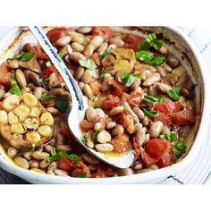 Borlotti Beans in Tomato Sauce with Creamy Polenta. Vegetarian comfort ...