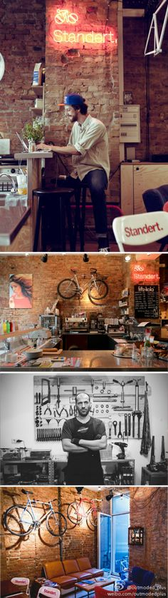 bike store and cafe Bicycle Cafe, Bicycle Shop, Bike Store, Cafe Bar, Cafe Shop, Modern Restaurant, Restaurant Bar, Restaurant Interior Design, Mini Bars