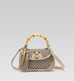 Gucci bamboo medium top handle with tassels and bamboo detail: $3,450