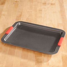 Large Baking Sheet with Red Silicone Handles by Home-Style Kitchen™ - Zoom