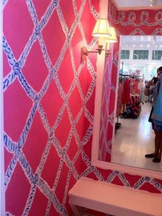 Wallpaper at Lilly Pulitzer's Hamptons store.