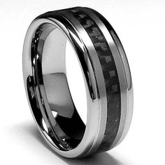 8MM Men's Tungsten Carbide Ring, Band W/ Black Carbon Fiber Inaly sizes 8 to 12 Metal Masters Co.. $46.99. 30-Day Money Back Guarantee. Comes with a FREE Ring Box!!. Genuine Tungsten Carbide (Cobalt Free). Beware of Imitated Replicas. Comfort Fit