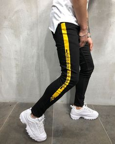 "Men Skinny Fit ""Need Money, Not Friends"" Short Ankle Jeans - Black Yellow 3881 Streetwear Jeans, Streetwear Fashion, Boy Fashion, Mens Fashion, Fashion Outfits, Skinny Fit, Super Skinny Jeans, Mode Style, Kind Mode"