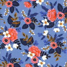 COMING SOON-Cotton and Steel Fabric-Rifle Paper Co-Les Fleurs-Birch in Periwinkle-Fabric by the yard-Quilt Fabric-Modern Fabric-Fat Quarter by BrewStitched on Etsy