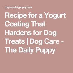 Recipe for a Yogurt Coating That Hardens for Dog Treats | Dog Care - The Daily Puppy